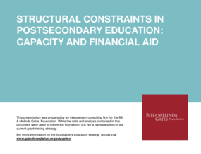 Structural Constraints in Postsecondary Education: Capacity and Financial Aid