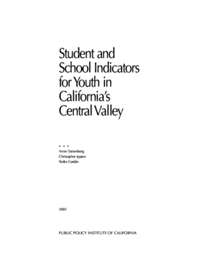 Student and School Indicators for Youth in California's Central Valley