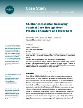 St. Charles Hospital: Improving Surgical Care Through Best-Practice Literature and Order Sets