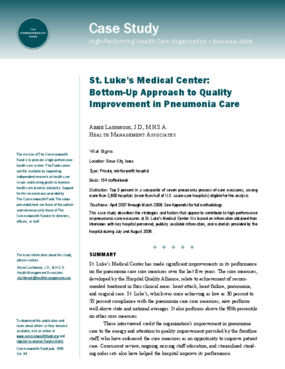 St. Luke's Medical Center: Bottom-Up Approach to Quality Improvement in Pneumonia Care