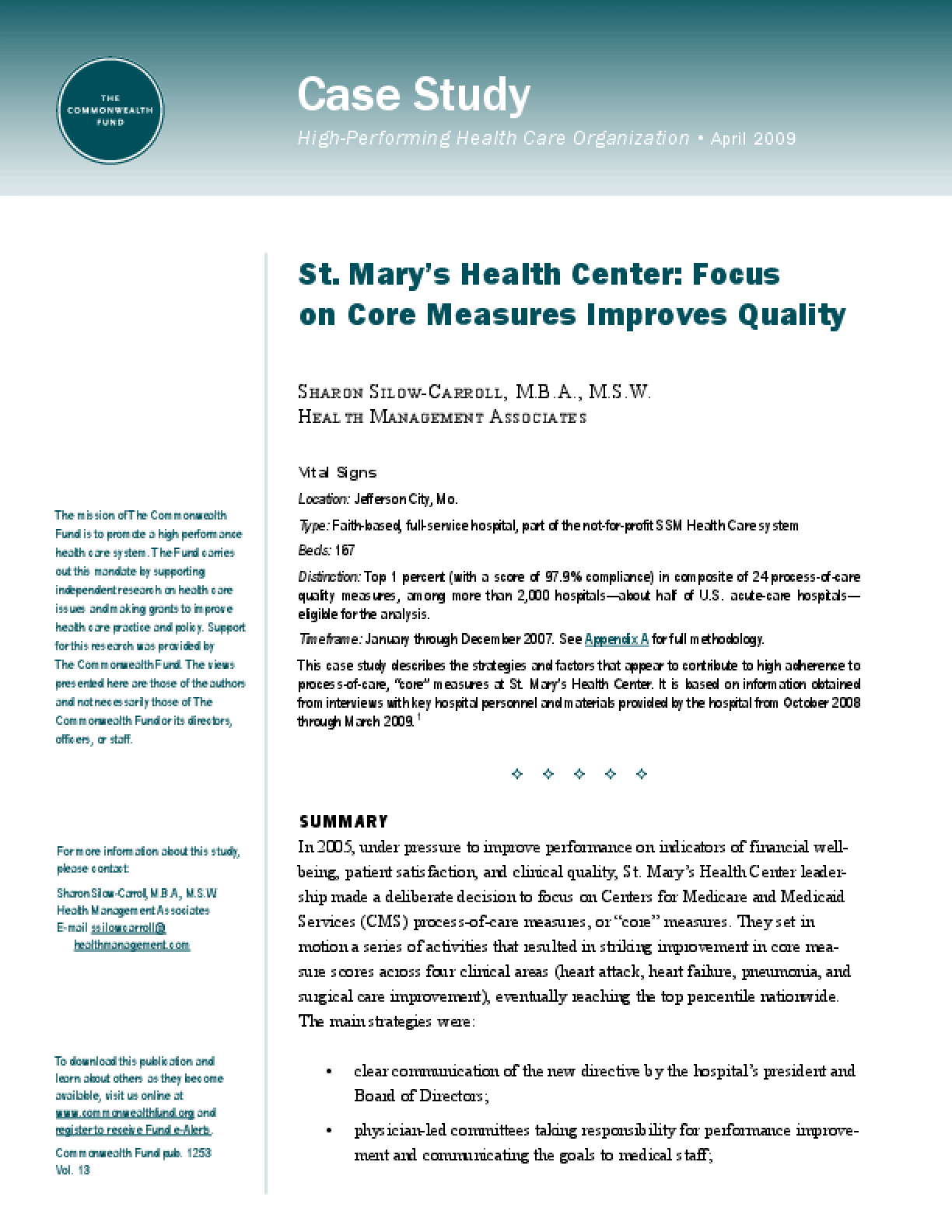 St  Mary's Health Center: Focus on Core Measures Improves Quality