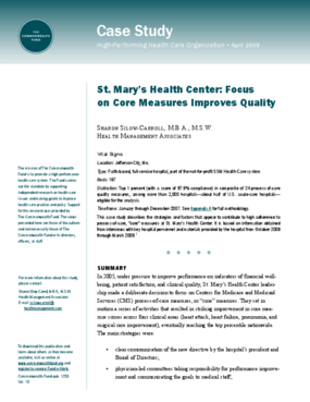 St. Mary's Health Center: Focus on Core Measures Improves Quality