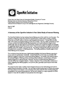 A Summary of the OpenNet Initiative's First Global Study of Internet Filtering