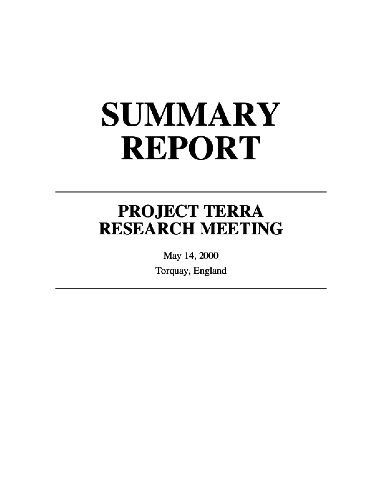 Summary Report: Project Terra Research Meeting
