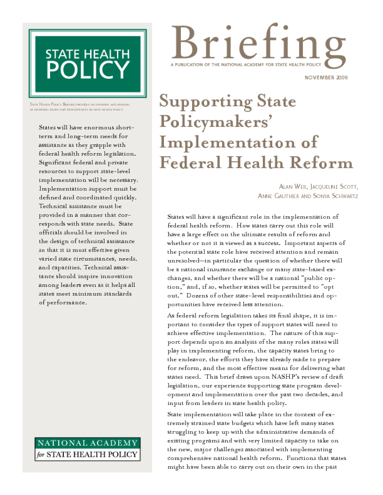 Supporting State Policymakers' Implementation of Federal Health Reform