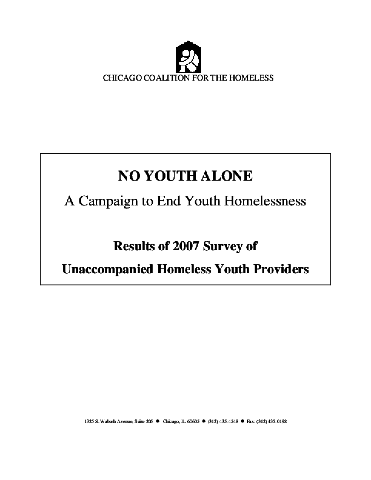 Results of 2007 Survey of Unaccompanied Homeless Youth Providers