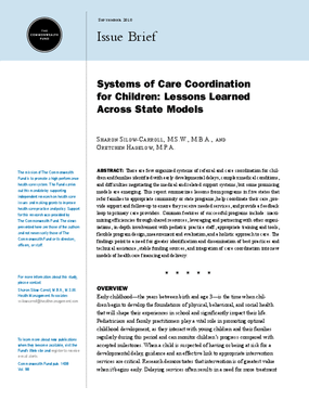 Systems of Care Coordination for Children: Lessons Learned Across State Models
