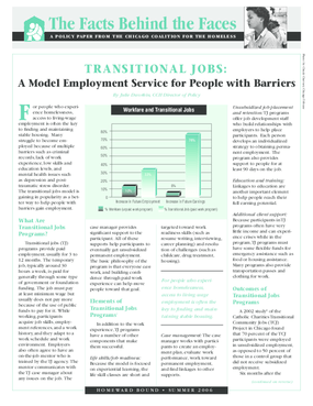 Transitional Jobs: A Model Employment Service for People with Barriers