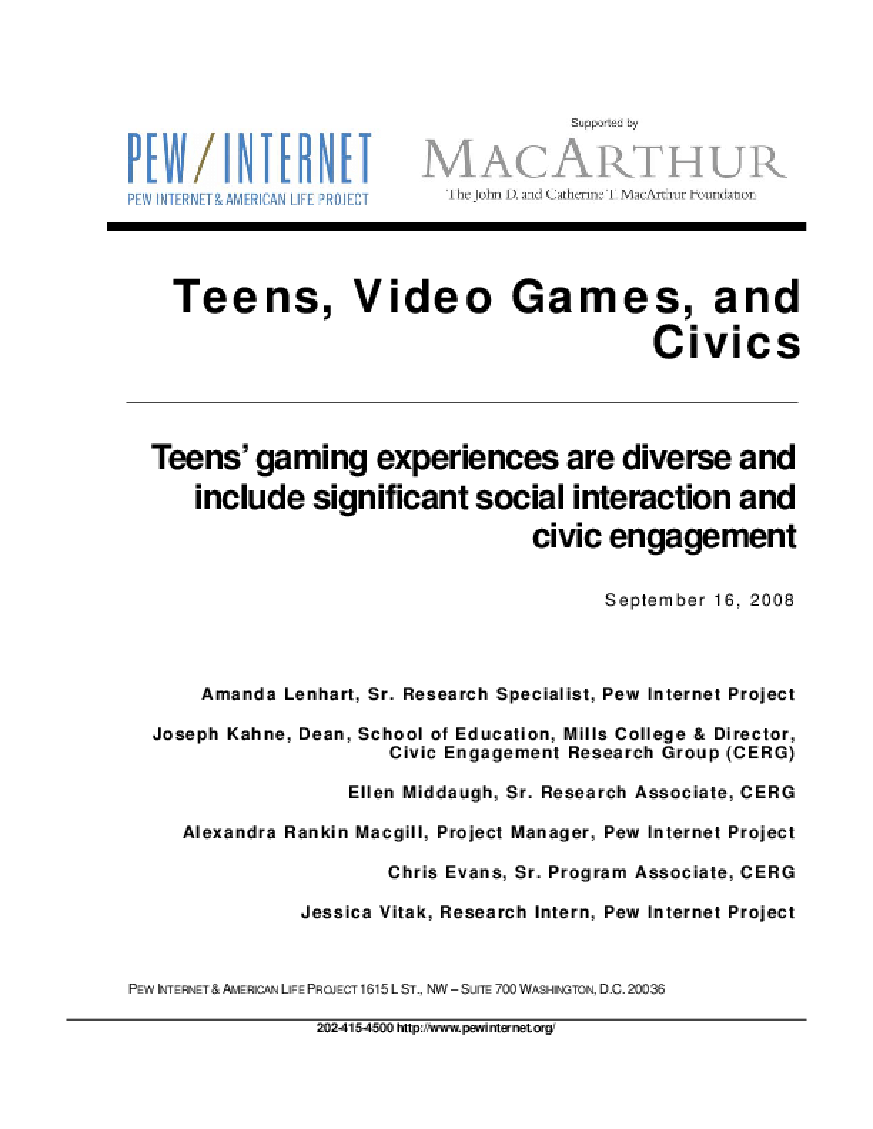 Teens, Video Games, and Civics