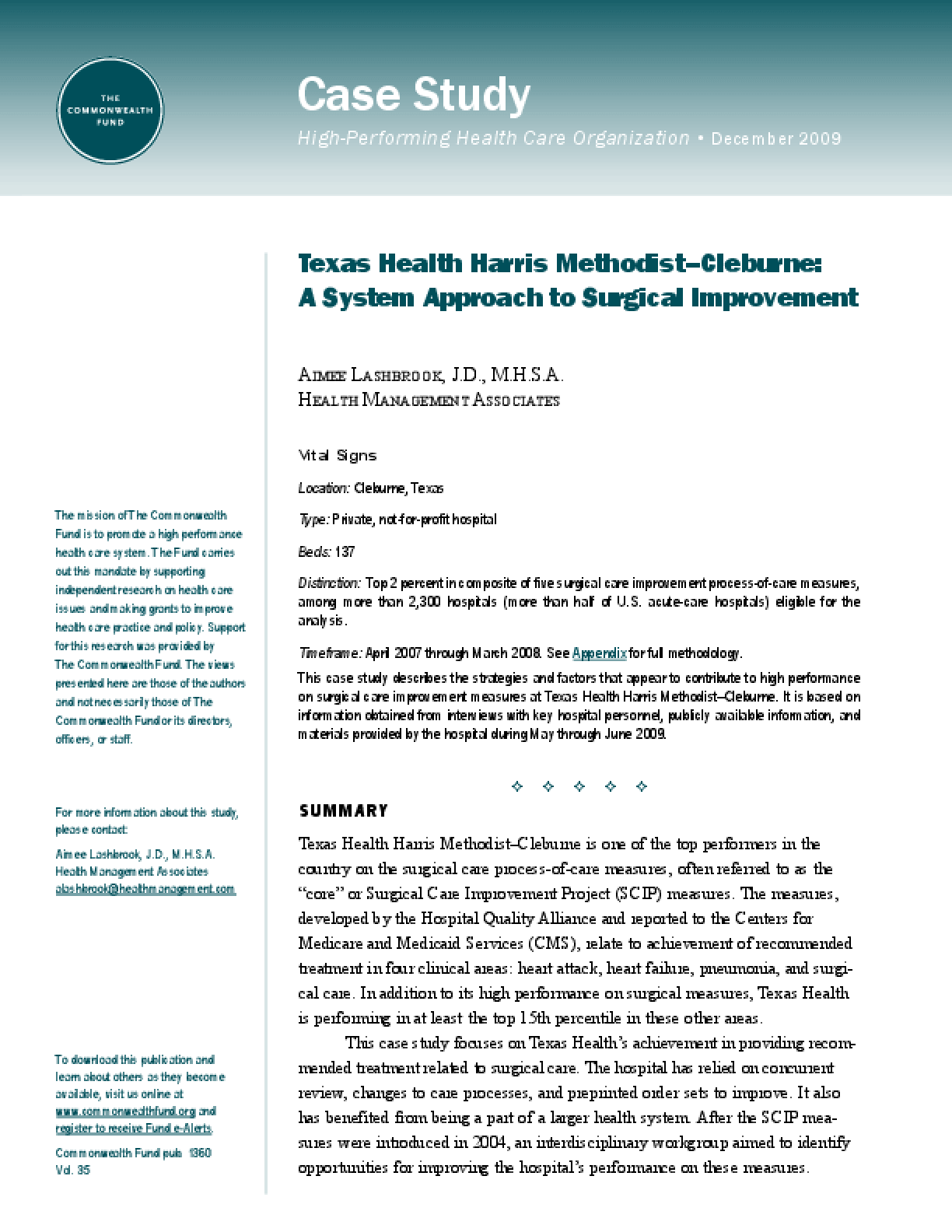 Texas Health Harris Methodist-Cleburne: A System Approach to Surgical Improvement