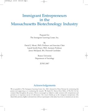 Immigrant Entrepreneurs in the Massachusetts Biotechnology Industry (2007)