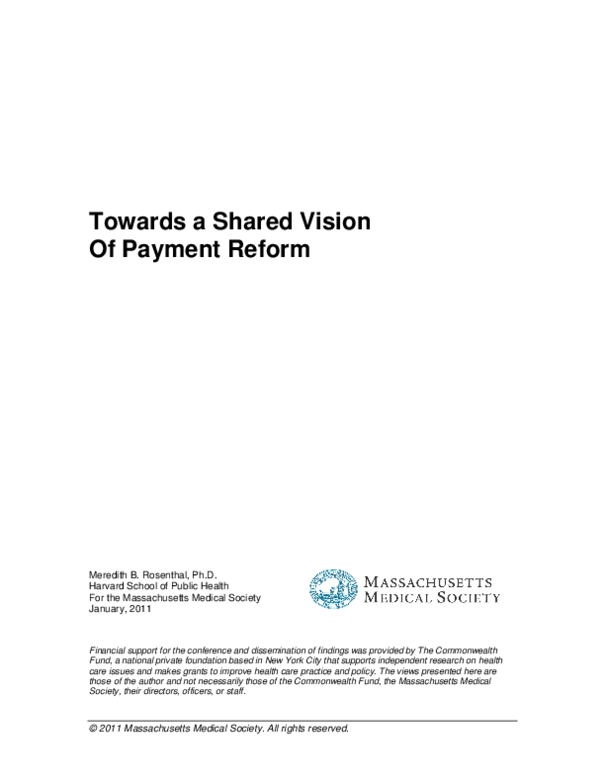 Towards a Shared Vision of Payment Reform