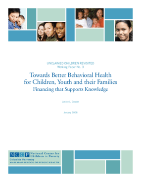 Towards Better Behavioral Health for Children, Youth and Their Families: Financing That Supports Knowledge