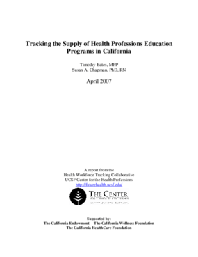 Tracking the Supply of Health Professions Education Programs in California