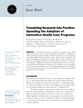 Translating Research Into Practice: Speeding the Adoption of Innovative Health Care Programs