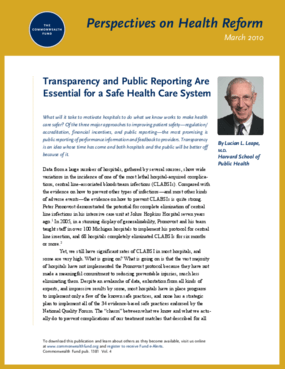 Transparency and Public Reporting Are Essential for a Safe Health Care System