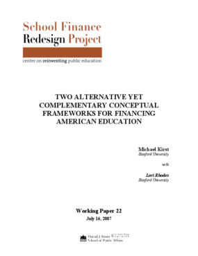 Two Alternative Yet Complementary Conceptual Frameworks for Financing American Education