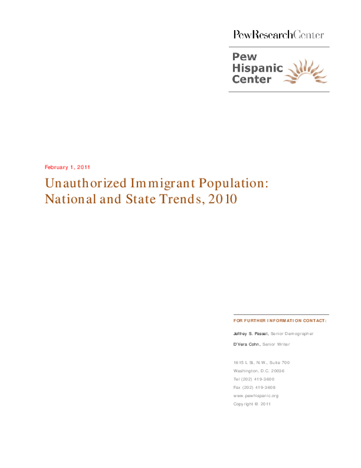 Unauthorized Immigrant Population: National and State Trends, 2010