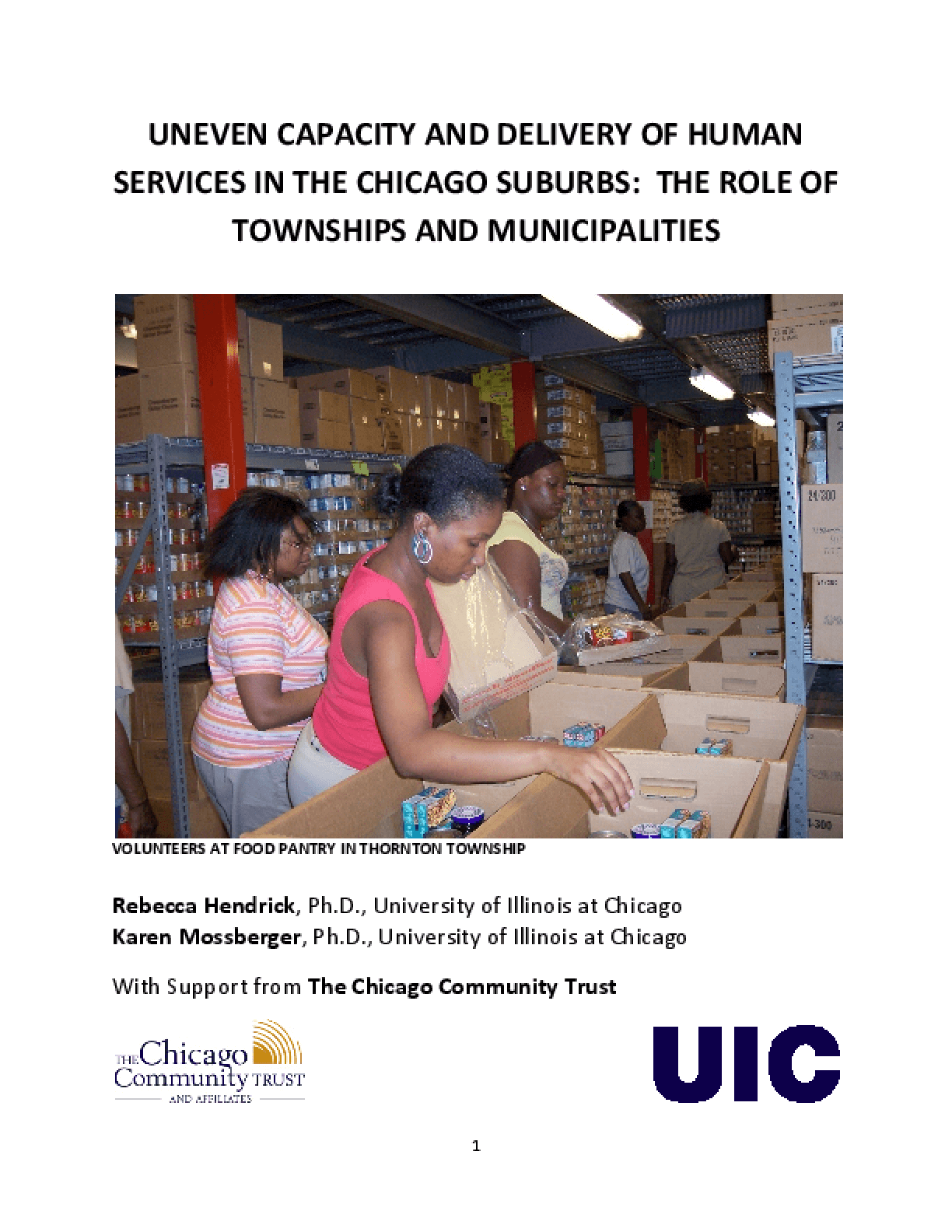 Uneven Capacity and Delivery of Human Services in the Chicago Suburbs: The Role of Townships and Municipalities