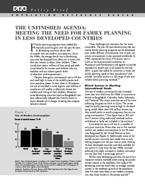 The Unfinished Agenda: Meeting the Need for Family Planning in Less Developed Countries