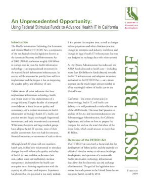 An Unprecedented Opportunity: Using Federal Stimulus Funds to Advance Health IT in California
