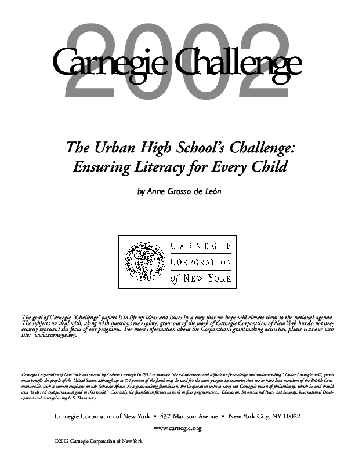The Urban High School's Challenge: Ensuring Literacy for Every Child