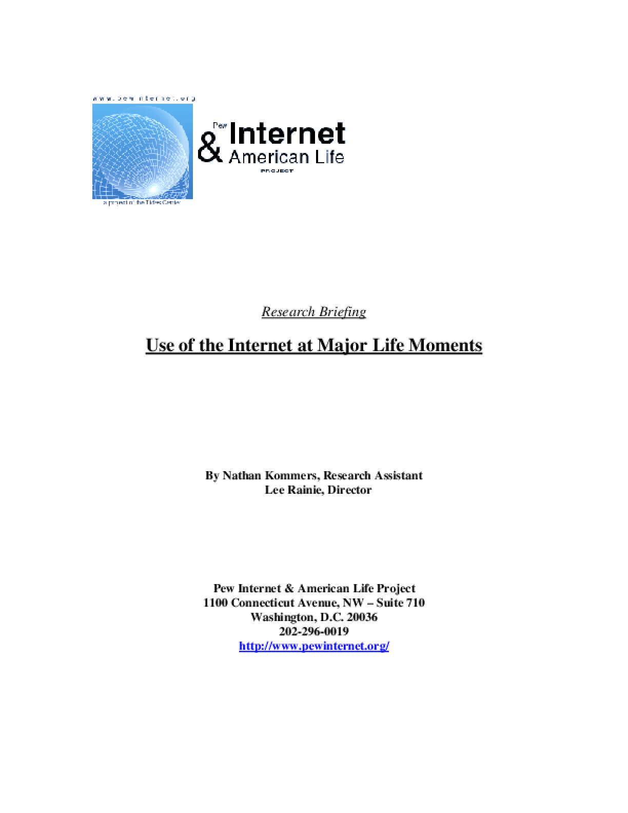 Use of the Internet at Major Life Moments