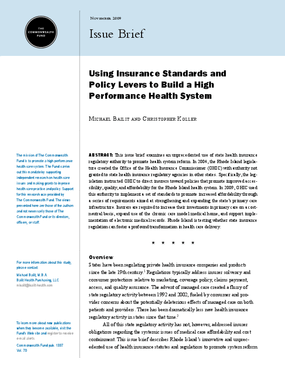 Using Insurance Standards and Policy Levers to Build a High Performance Health System