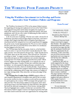 Using the Workforce Investment Act to Develop and Foster Innovative State Workforce Policies and Programs