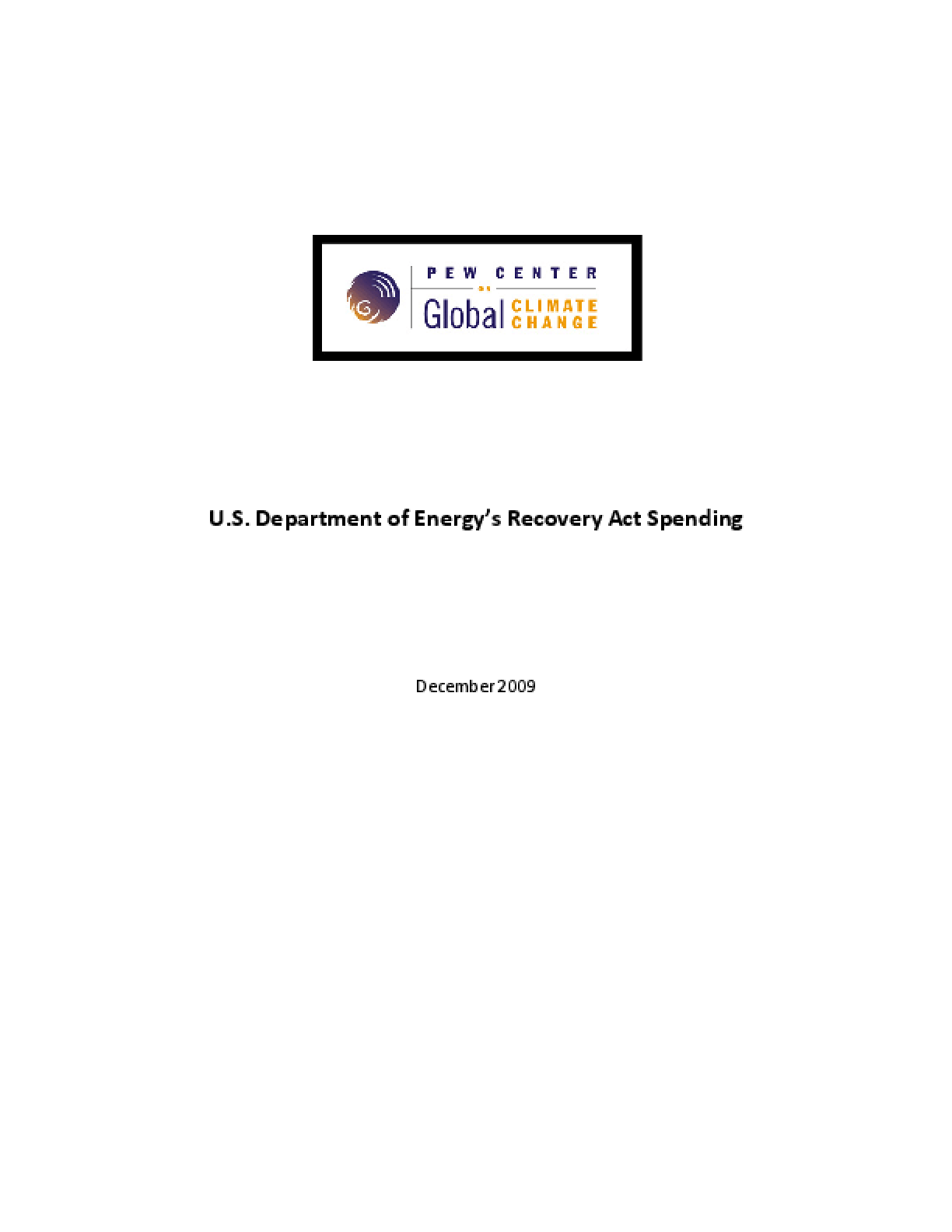 U.S. Department of Energy's Recovery Act Spending