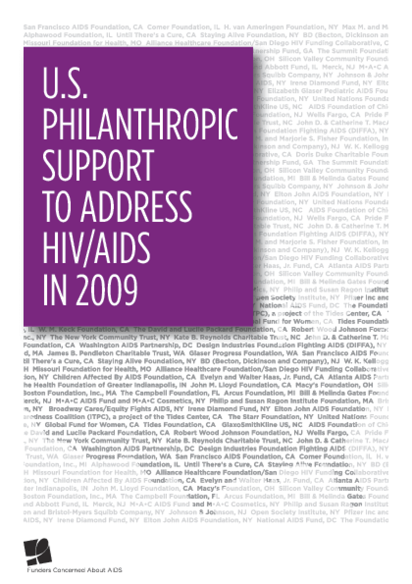U.S. Philanthropic Support to Address HIV/AIDS in 2009