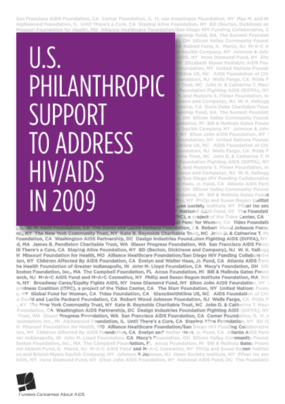 U.S. Philanthropic Support to Address HIV/AIDS in 2009