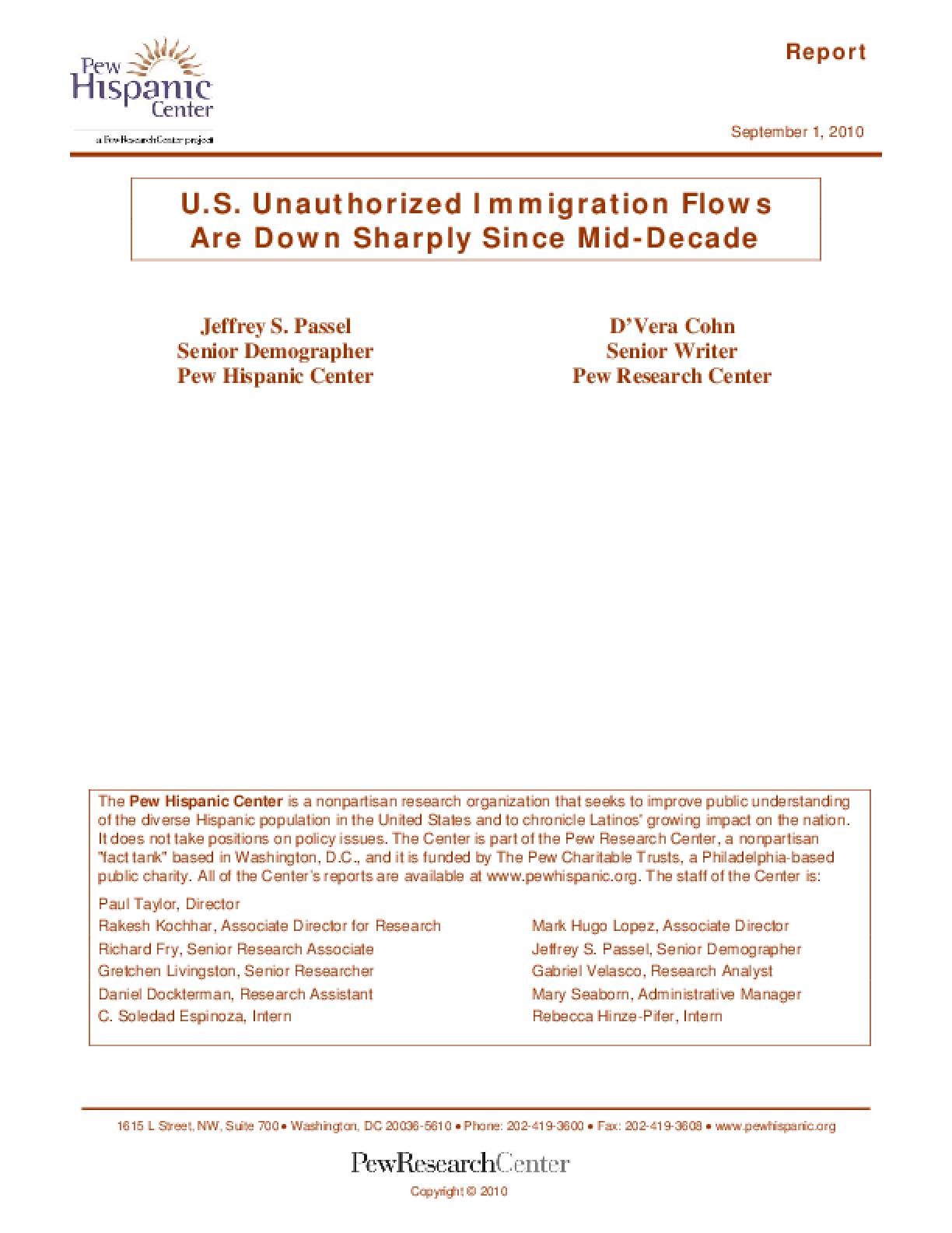 U.S. Unauthorized Immigration Flows Are Down Sharply Since Mid-Decade