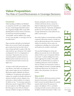 Value Proposition: The Role of Cost-Effectiveness in Coverage Decisions