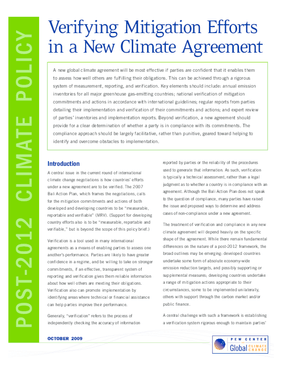 Verifying Mitigation Efforts in a New Climate Agreement