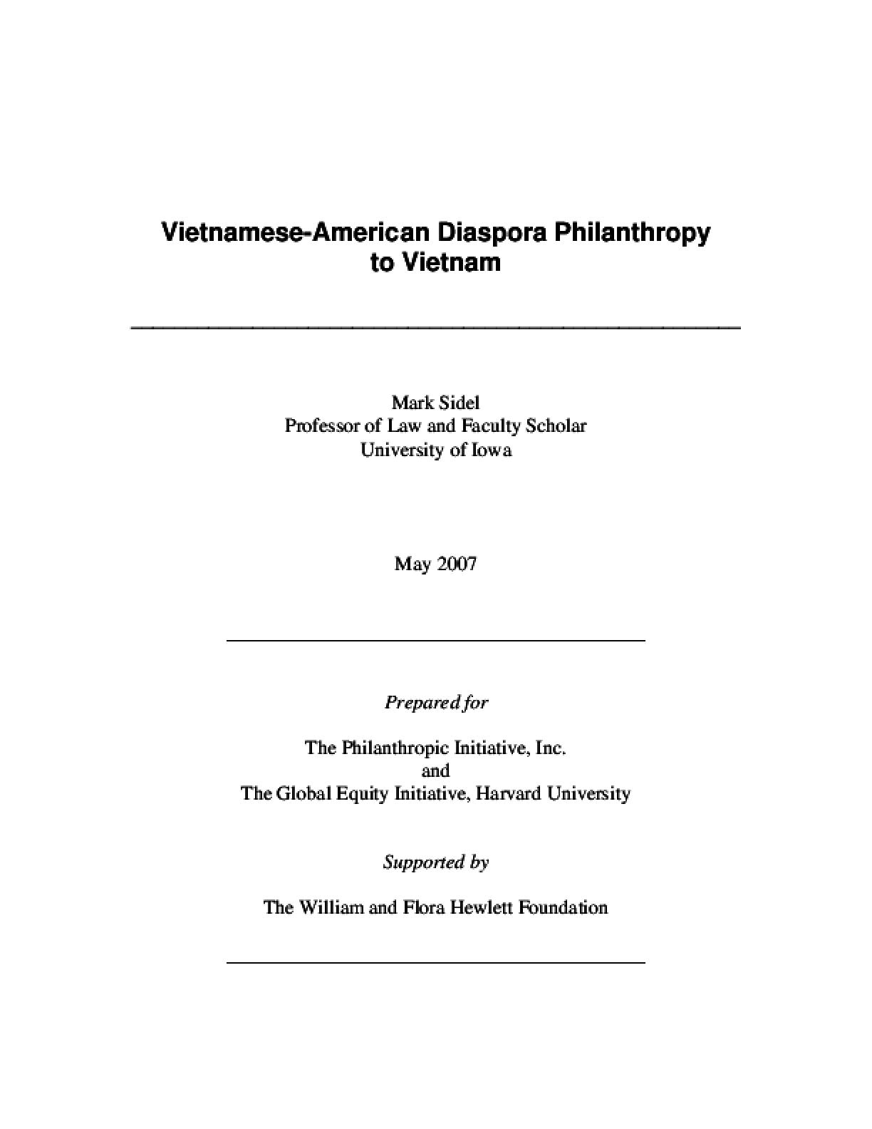 Vietnamese-American Diaspora Philanthropy to Vietnam