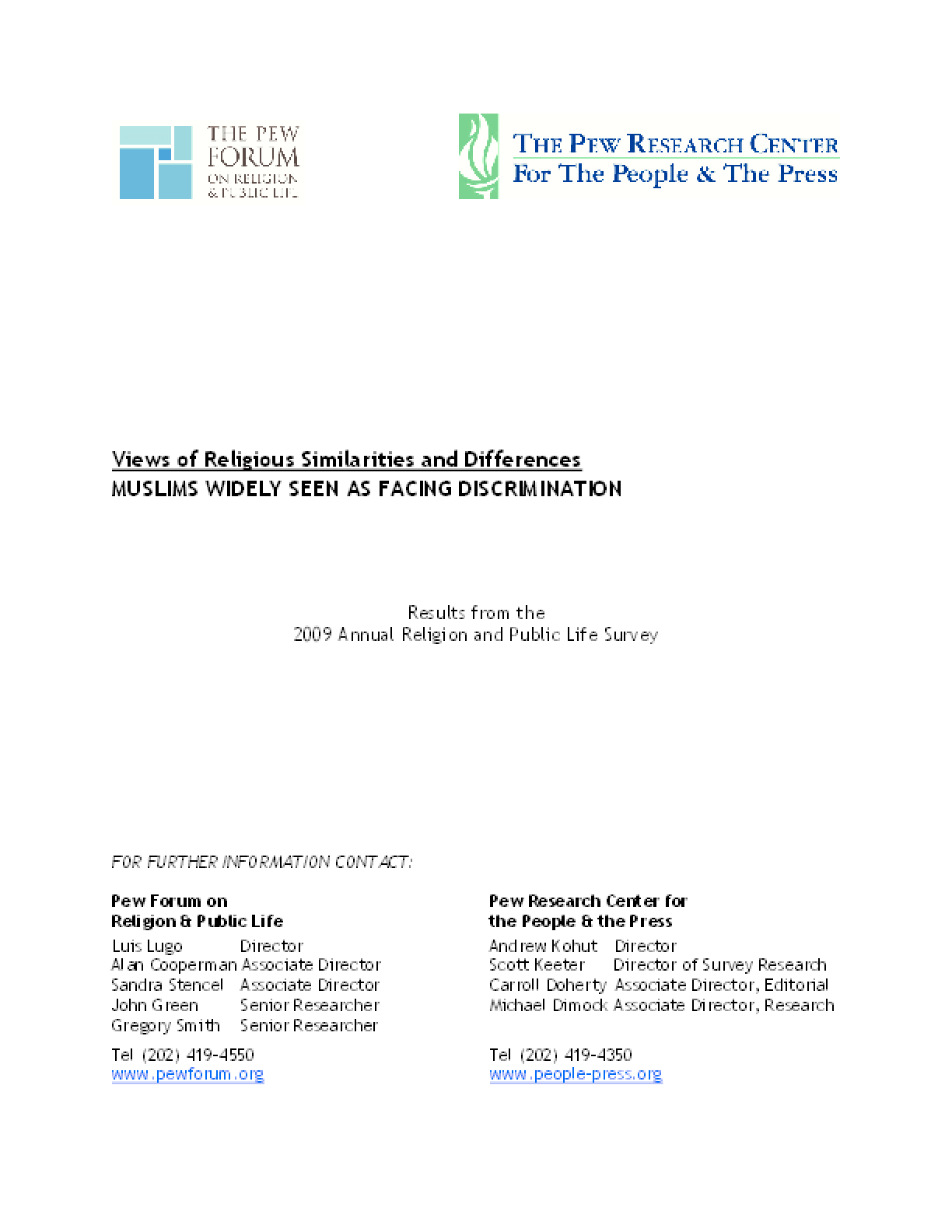 Views of Religious Similarities and Differences: Results From the 2009 Annual Religion and Public Life Survey