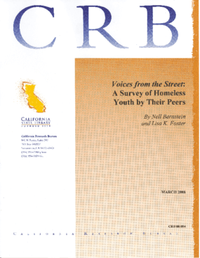 Voices From the Street: A Survey of Homeless Youth by Their Peers
