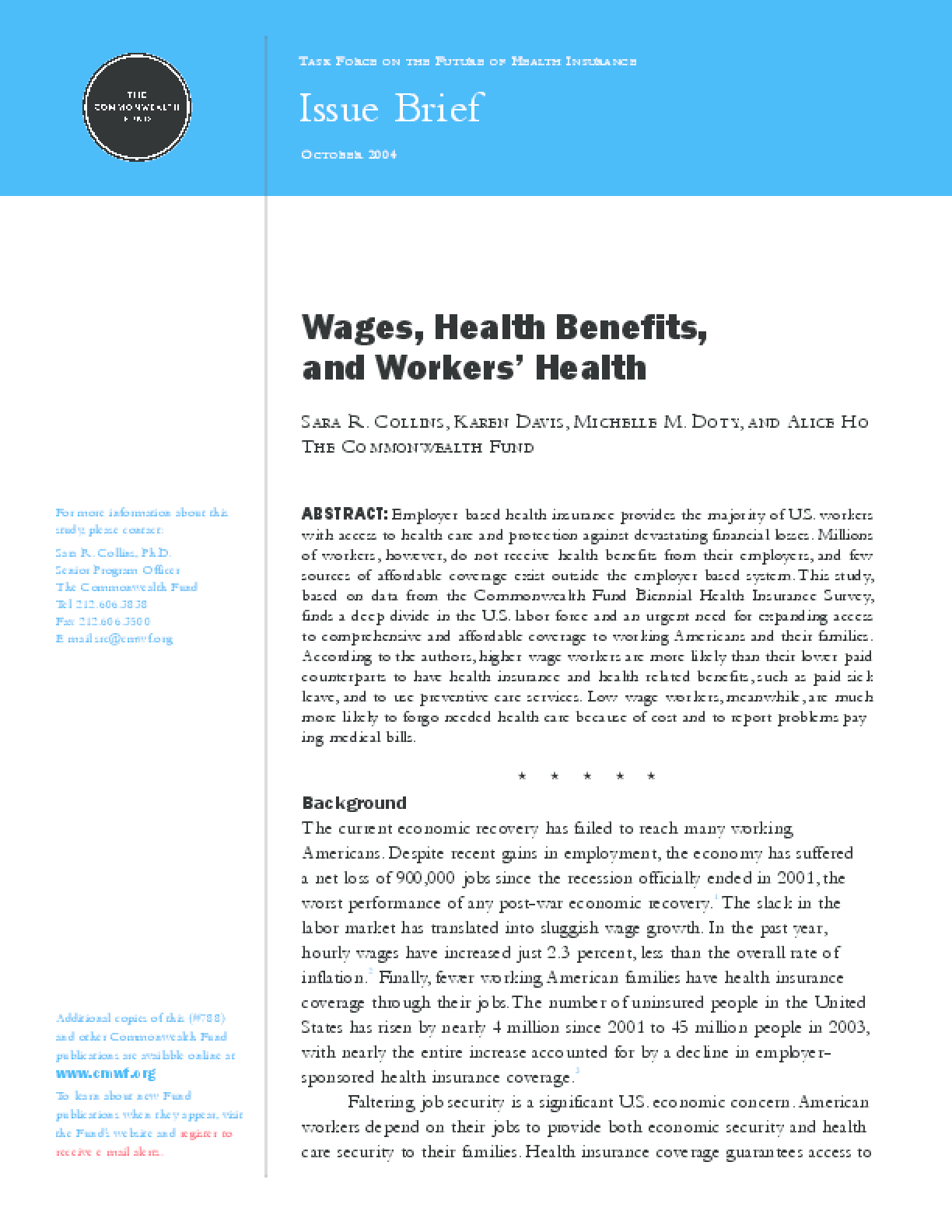 Wages, Health Benefits, and Workers' Health