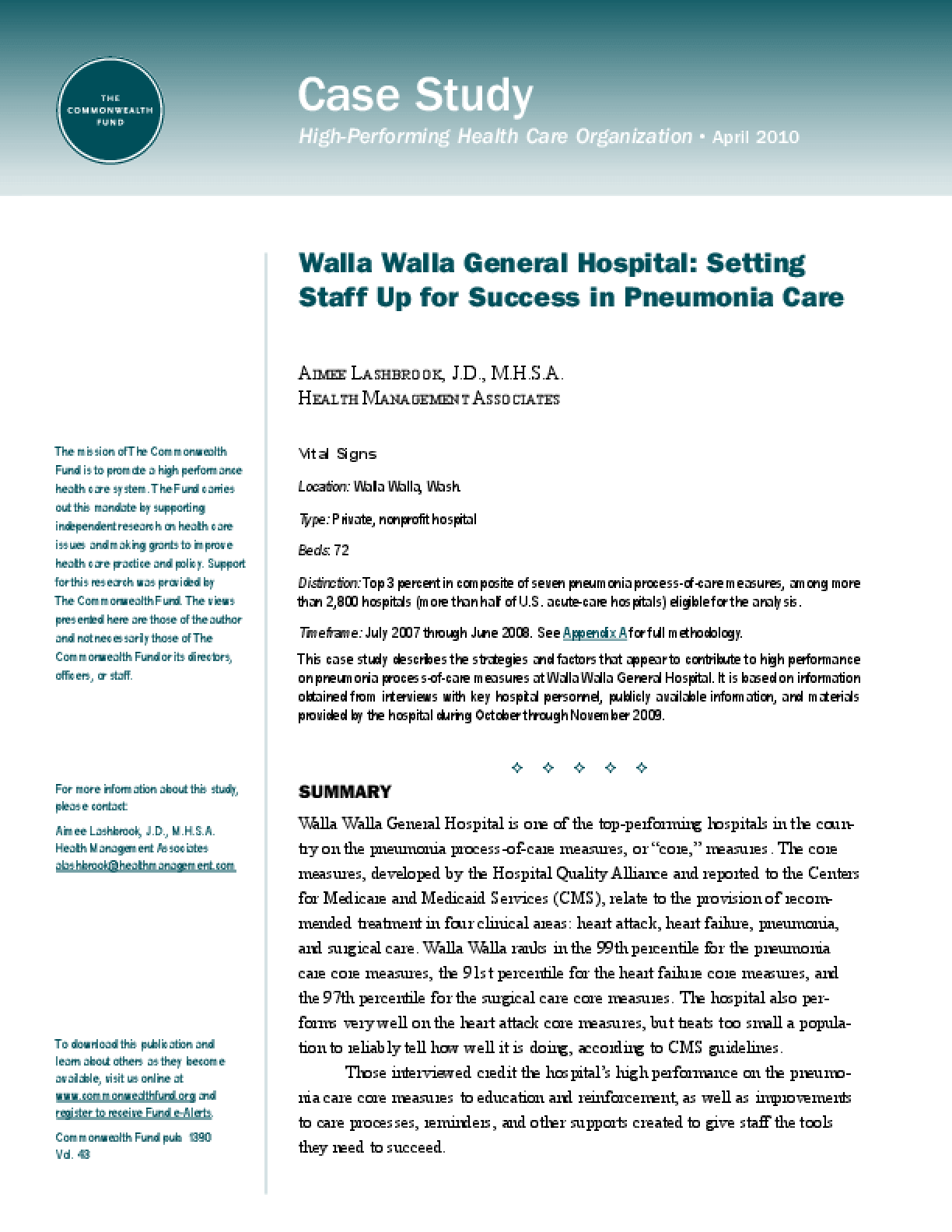 Walla Walla General Hospital: Setting Staff Up for Success in Pneumonia Care