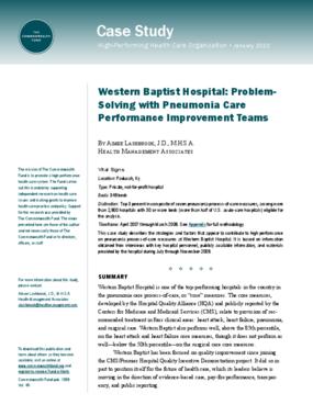 Western Baptist Hospital: Problem-Solving With Pneumonia Care Performance Improvement Teams