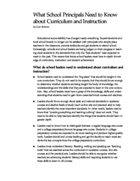 What School Principals Need to Know About Curriculum and Instruction
