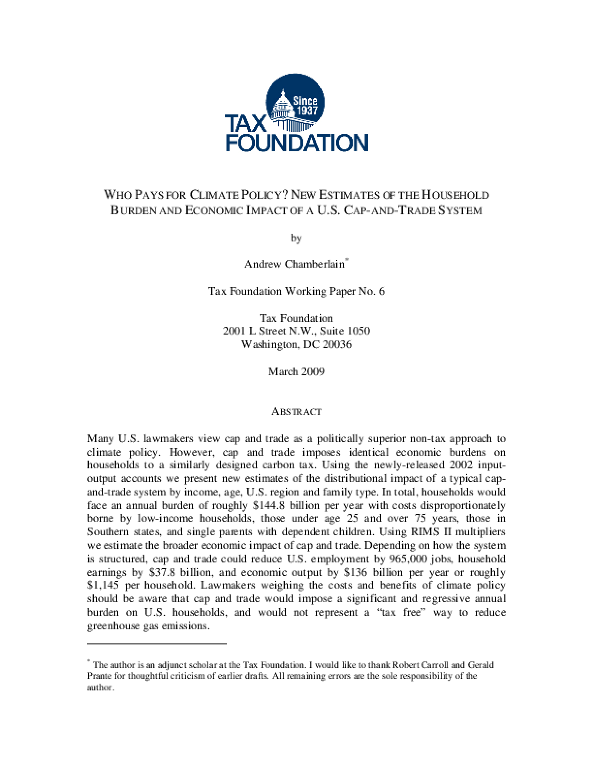 Who Pays for Climate Policy?: New Estimates of the Household Burden and Economic Impact of a U.S. Cap-and-Trade System