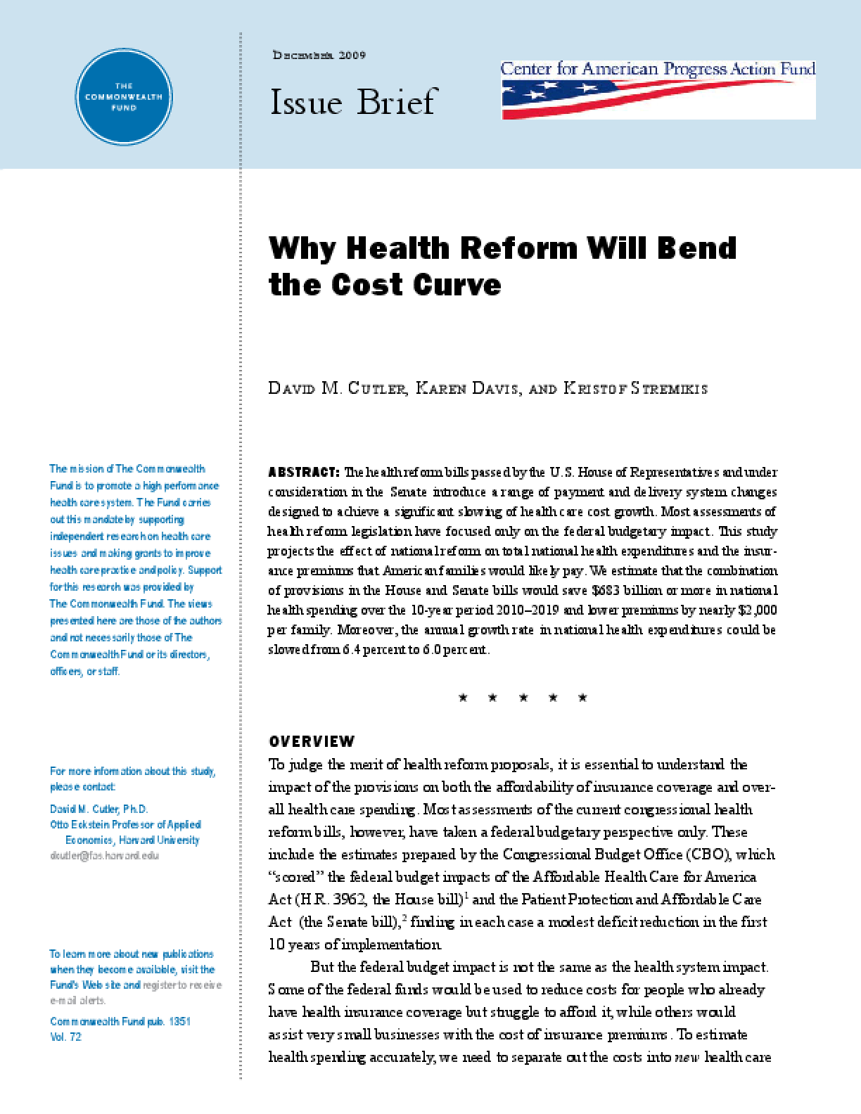 Why Health Reform Will Bend the Cost Curve