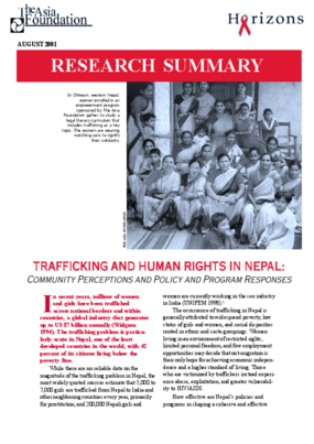 Trafficking and Human Rights in Nepal: Community Perceptions and Policy and Program Responses