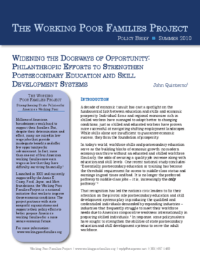 Widening the Doorways of Opportunity: Philanthropic Efforts to Strengthen Postsecondary Education and Skill Development Systems