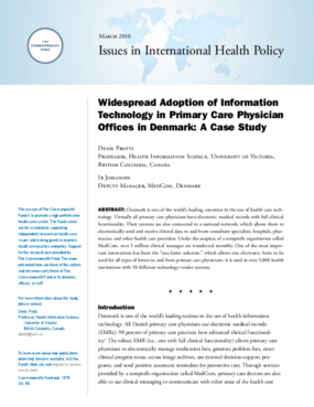Widespread Adoption of Information Technology in Primary Care Physician Offices in Denmark: A Case Study