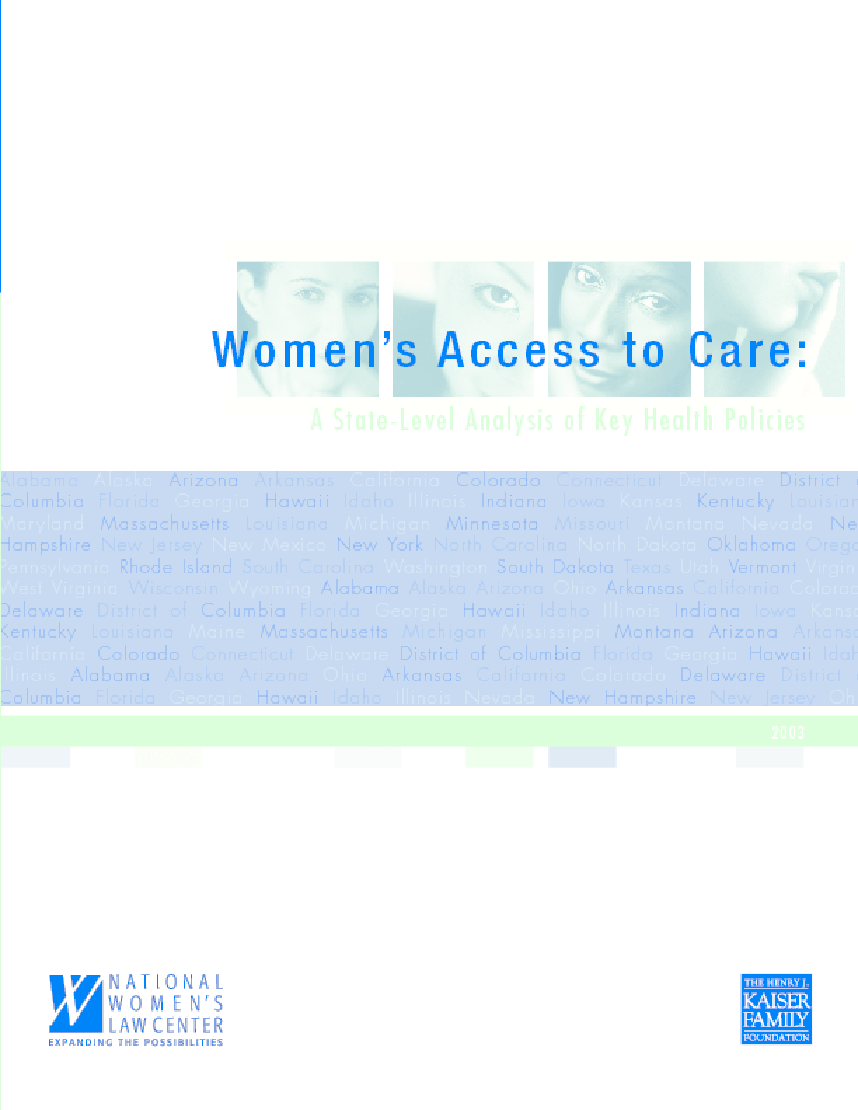 Women's Access to Care: A State-Level Analysis of Key Health Policies