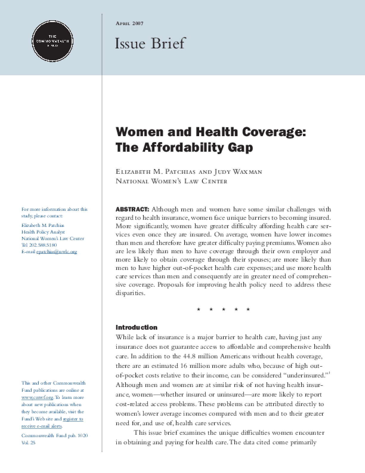 Women and Health Coverage: The Affordability Gap