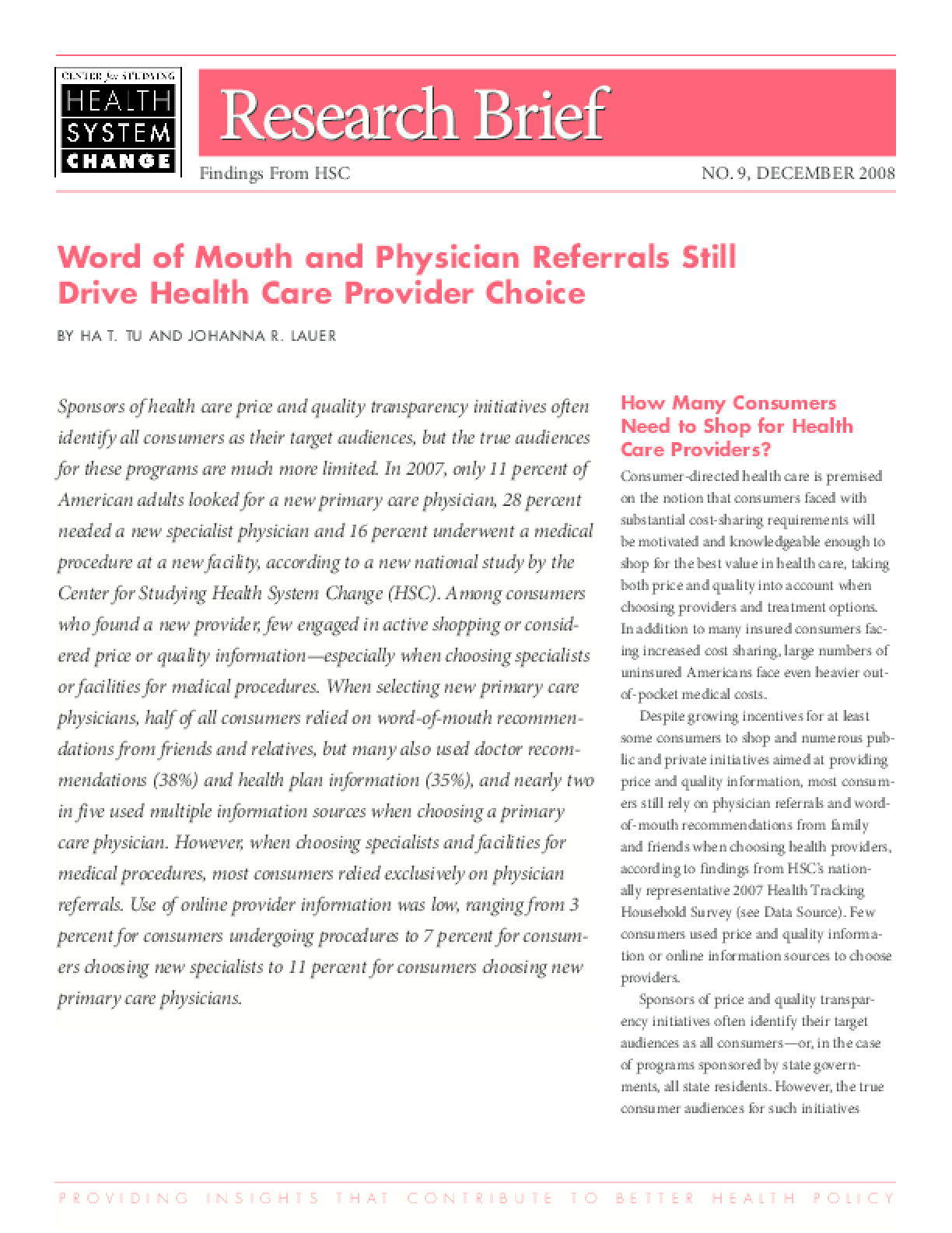 Word of Mouth and Physician Referrals Still Drive Health Care Provider Choice